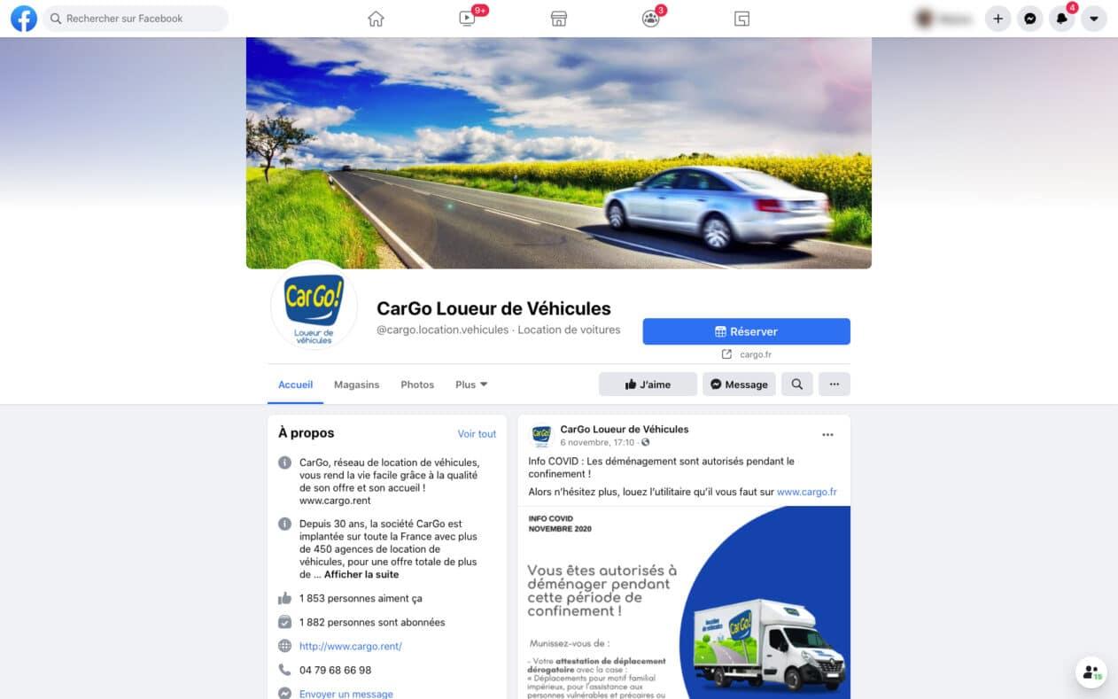 Page Facebook de Cargo