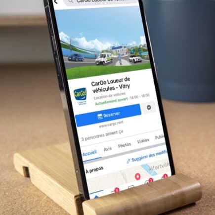Page Facebook de Cargo sur mobile