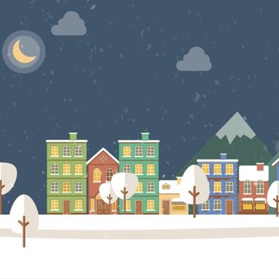 Carte De Voeux 40 Degrés Sur La Banquise village sous la neige