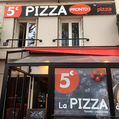Devanture de Pizza Roma Paris